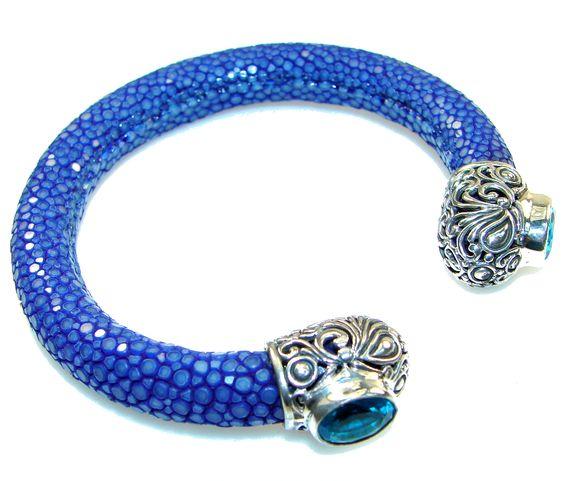 $151.25 NEW! Summer Blue Style Stardust Sterling Silver Bracelet / Cuff at www.SilverRushStyle.com #bracelet #handmade #jewelry #silver #agate