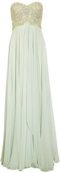 Beaded Silk Chiffon Gown - Lyst    Green Beaded Silk Chiffon Gown  Splashed in a pretty pastel hue, Marchesa's embellished floor-sweeping gown will channel the elegance of old Hollywood glamour. Large to size. See Size & Fit tab. Mint silk-chiffon. Gemstone and bead-embellished bodice, asymmetric draped panels through skirt, boned internal bodice, fully linedZip and hook fastening at back. 100% silk. Dry clean.  ---- Loving this  <3 Maybe for my birthday!