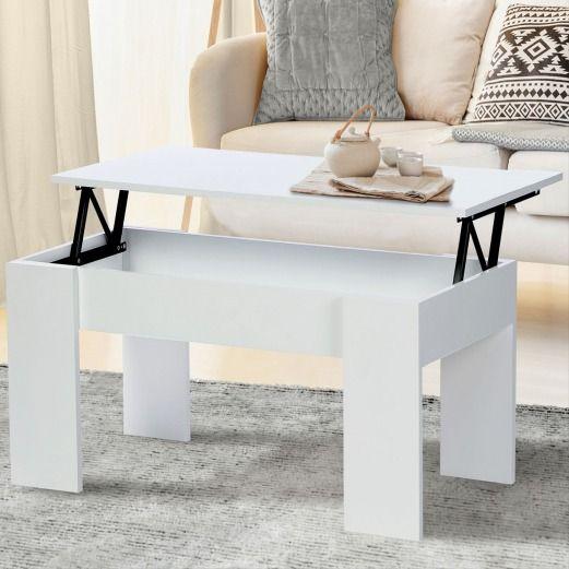 Table Basse Blanche Avec Plateau Relevable Cielterre Commerce Table Basse Avec Plateau Relevable Table Basse Blanche Table Basse