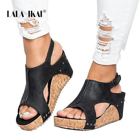 Women/'s Belt buckle High Wedge Heel Platform rivet Shoes Peep Toe sandals Size