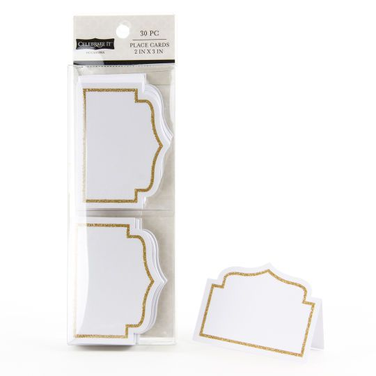 Occasions Gold Glitter Border Place Cards By Celebrate It Place Cards Wedding Diy Place Card Template Wedding Place Cards