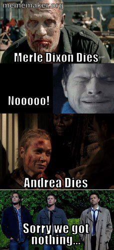 I cried like a baby for Merle; no fucks to give about Andrea.