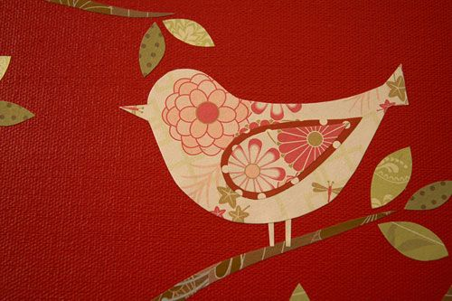 Red Bird paper on canvas.