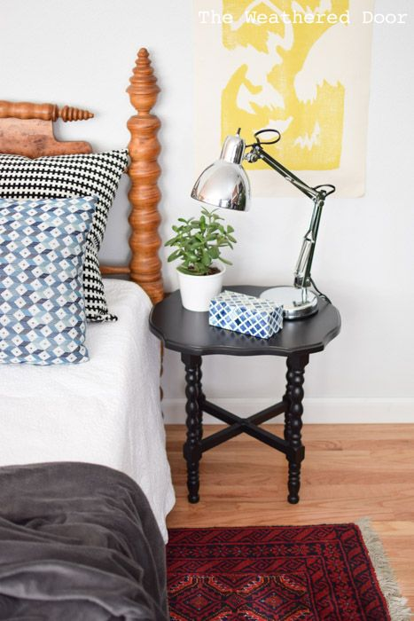 Black side table from theweathereddoor.com