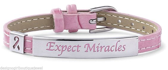 Expect Miracles PINK Ribbon Breast Cancer Stainless Steel Leather Bracelet