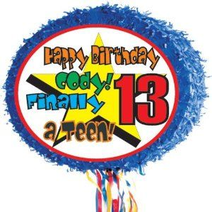 "13th Birthday Party Pinata Personalized by Personalized Pinatas. $18.99. -Personalized Piñatas are 17"" round drum, pull-string piñatas decorated with fringed trim. They ship flat, and then expand to 3"" to hold up to two pounds of candy or trinkets to go with your party theme.. -You can include up to 30 characters of text to your message such as ""Happy Birthday Jim,"" ""Happy Anniversary Ray & Tina,"" ""Way to Go Lauren,"" etc. Please call customer service at 877-774-0952 if ..."