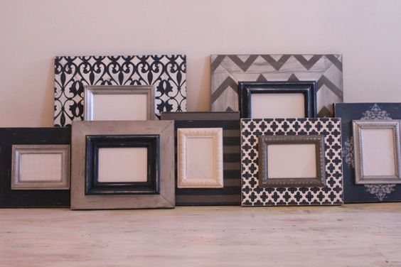 Wall Grouping Set of Distressed Picture Frames by deltagirlframes, $455.00