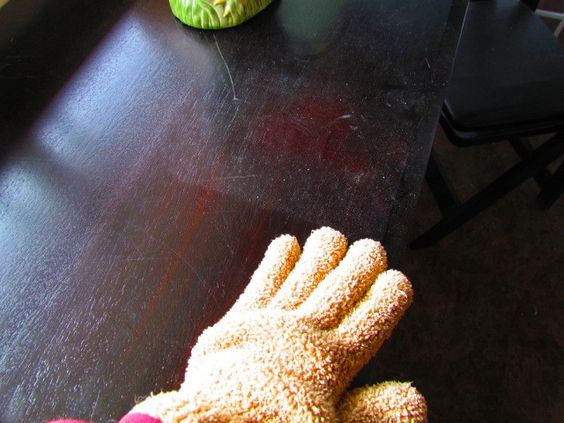 Microfiber dusting glove. Brainless activity #224 to accomplish while on the phone.