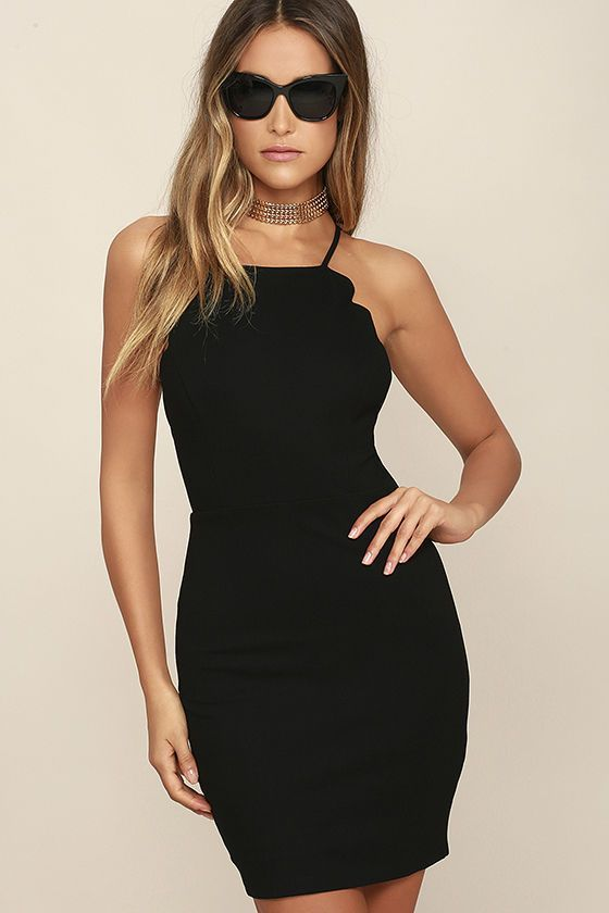 Spend the night dancing your heart out in the Heart's Content Black Bodycon Dress! Medium-weight stretch knit shapes a princess-seamed bodice with scalloped detail that travels from the apron neckline all the way to the sultry, open back. Skinny straps cross at back above a bodycon skirt. Hidden back zipper/hook clasp.
