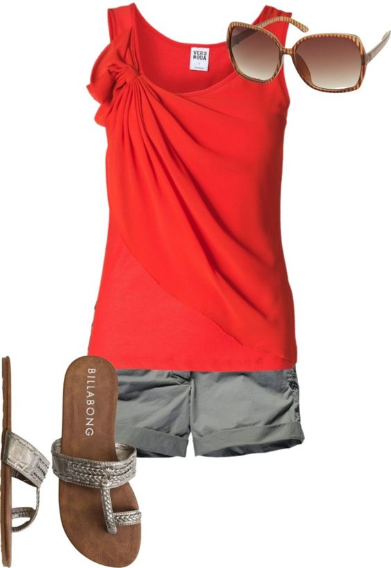 Red rouched tank, gray shorts, sandals. Hurry up, Spring!  THIS OUTFIT IS SO ME!