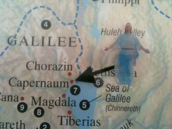 Enlarge LDS Bible Map 11 and make a small laminated picture of Christ.  Move it during your lessons to help students visualize where the Savior is teaching.