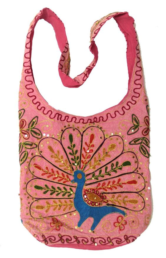 "Pink Cotton Peacock Embroidery Bohemian / Hippie Sling Crossbody Bag India. Approx 15"" wide and 12"" High and 5"" X 9"" Bottom. Shoulder Strap Measures approx 3"" Wide and 44"" long. Everyday and Every Occasions Bag. Fun Summer Holiday Bag. Fast."