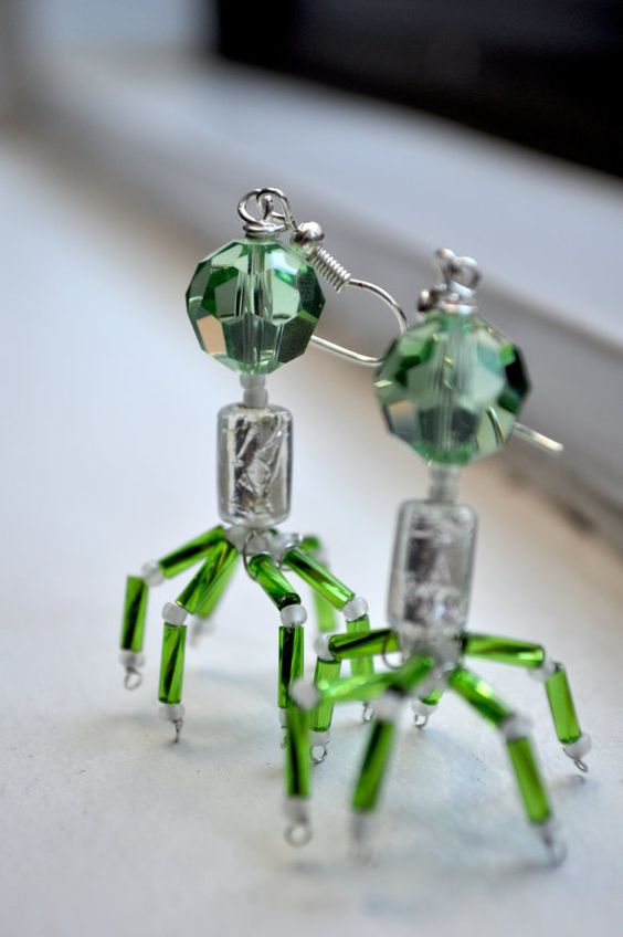 Sandwalk: Green T4 Bacteriophage Earrings
