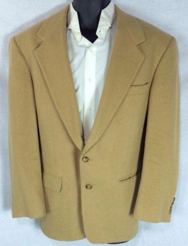 Vtg Beige Camel Hair Jacket Blazer Sport Coat 44 Men 2 Button Hudsons Bill Blass