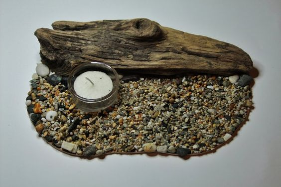 Pebble beach scene with a glass tealight by Justdriftingthrough, £9.99