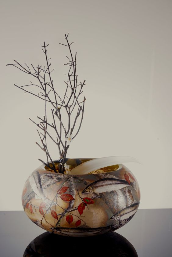 Artist: Hiroshi Yamano  Title: Drawing on the Vessel #7 Process: blown glass, engraving and cold works, painting, torch works Size: 25.25 x 15 x 15 Inches Year: 2016 Please contact the gallery for pricing  Habatat Galleries 248.554.0590 – info@habatat.com