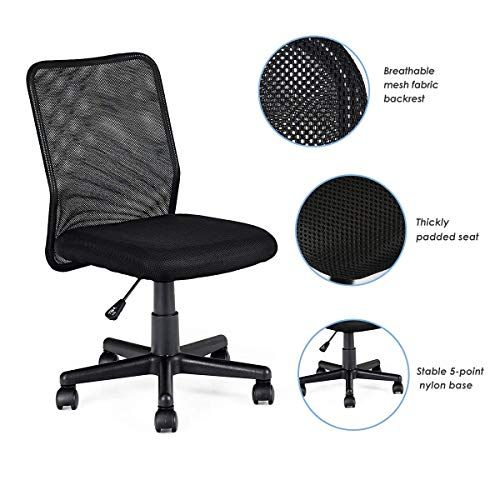 Homgx Office Chair Computer Desk Chair Mesh Mid Back Adjustable Ergonomic Modern Swivel Task Chair Without Arms Modern Swivel Computer Desk Chair Task Chair