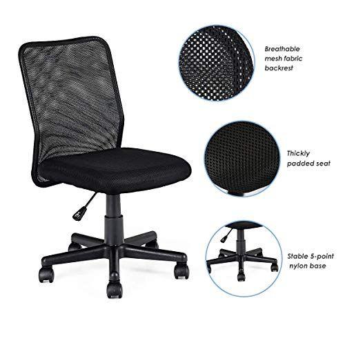 Homgx Office Chair Computer Desk Chair Mesh Mid Back Adjustable
