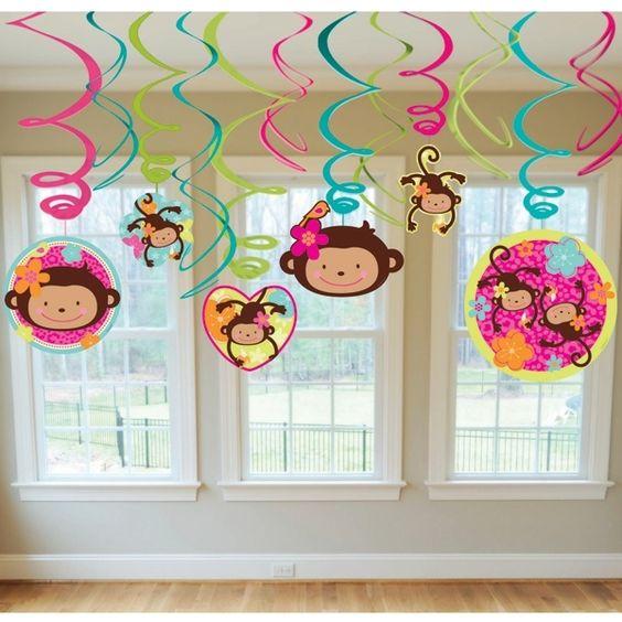 Monkey Girl Party Supplies - Dangling Swirls 12 Pk