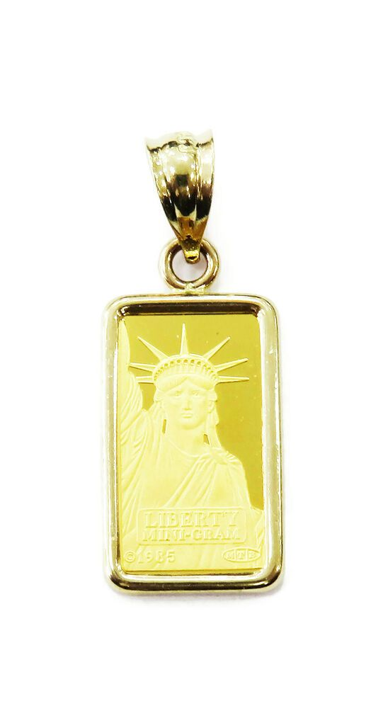1 Gram 24k Gold Credit Suisse Statue Of Liberty Bar Necklace Charm Pendant Llf In 2020 Bar Necklace Charm Pendant 24k Gold