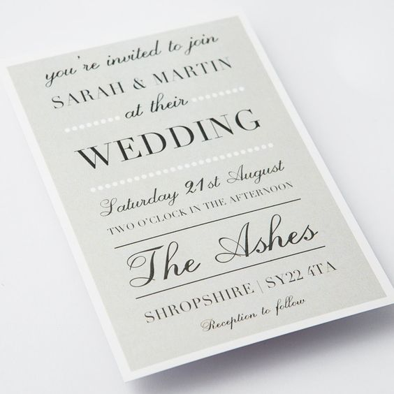 classic elegant grey wedding invitations 5000 via etsy - Faire Part Mariage Etsy