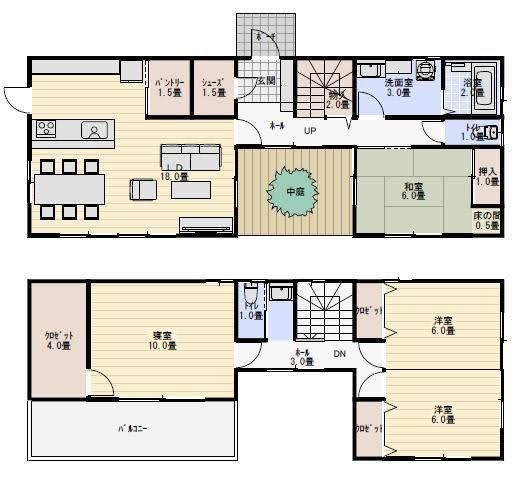 38坪 中庭のある家 新築間取り 間取り 中庭のある家 間取り 30坪