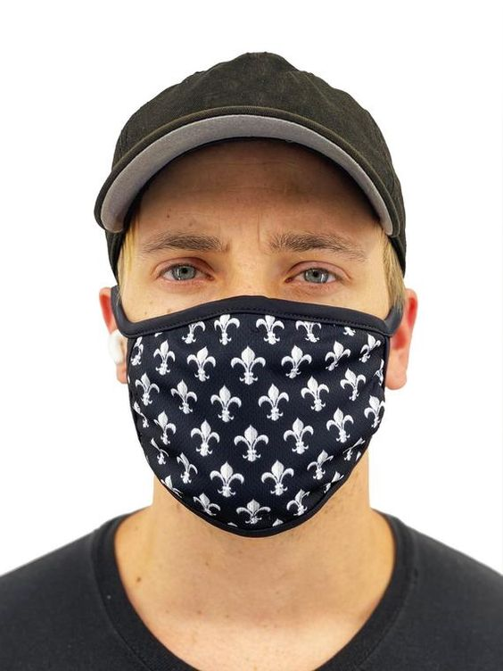 Fleur De Lis Face Mask With Filter Pocket Mens Womens Etsy In 2020 Face Mask Women Face