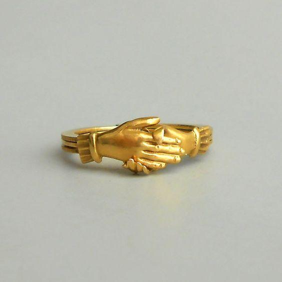reserved payment antique fede gimmel ring 18k gold