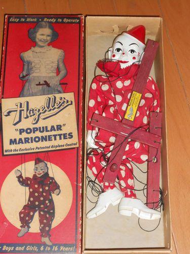 Clownie  / VINTAGE-1950S-HAZELLES-TETO-THE-CLOWN-MARIONETTE-801-PUPPET