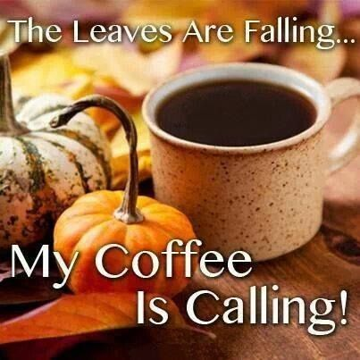 Good morning everyone...love the weather getting cooler and the smell of Fall...<3 Here's to another c(_) of coffee!: