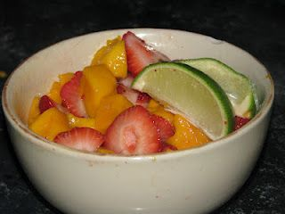 Aprons and Apples: Refreshing & Delicious Strawberry Mango Lime fruit salad!  SO GOOD and SO SO healthy!