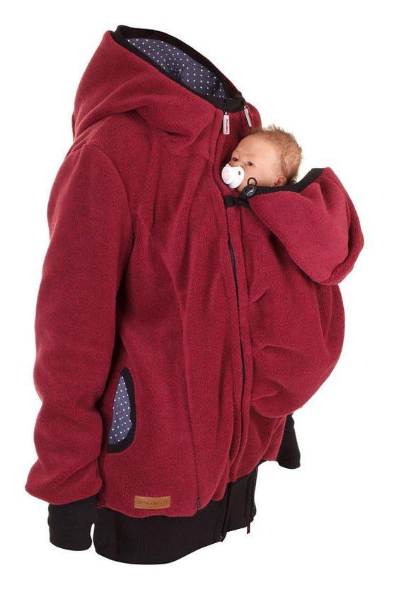 Ropa de invierno de la chaqueta, capa transporte de bebé caliente, ropa de maternidad, embarazo, de Winterfleece, Burdeos rojo, ARCTICA, chaqueta de portador