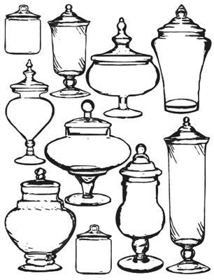 Variety of apothecary jar shapes and designs. A good reference when you're out shopping.