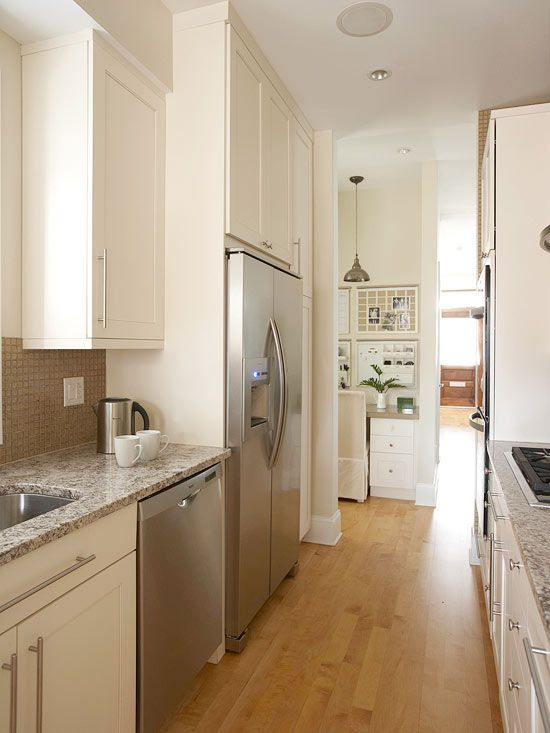 Small kitchens cabinets and countertops on pinterest for Narrow kitchen cupboards