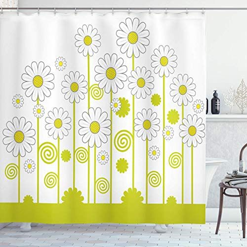 Joocar Floral Shower Curtain Daisy Flowers In A Sunny Day With