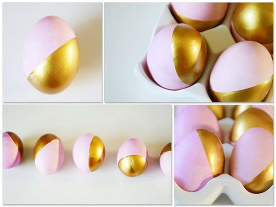 Golden dip-dyed eggs!: Eggs Gold, Decorating Ideas, Dyed Easter, Gold Pink, Baby Pink, Dip Dyed, Dyed Eggs, Easter Ideas
