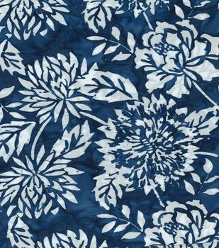 Batik Fabric - Bright Blue Garden Batik