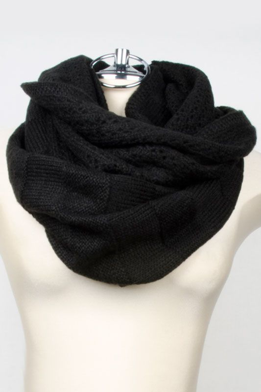 Nine West Alternate Jersey Pointelle Infinity Scarf In Black
