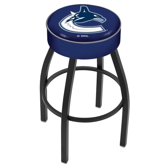 Vancouver Canucks NHL Black Bar Stool. Available in 25-inch and 30-inch Seat Heights. Visit SportsFansPlus.com for details.