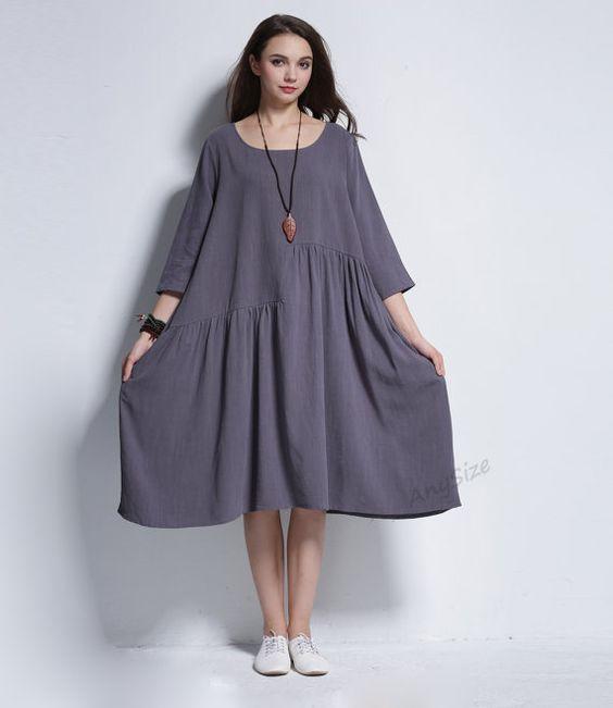 Any Size soft linen A-line dress plus size dress plus by AnySize: