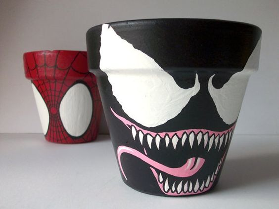 Venom Spiderman Villain Painted Flower Pot Marvel Spider Man on Etsy, $16.00: