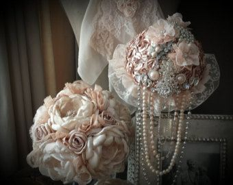 Fabric Wedding Bouquet Bridal Brooch by MyVintageWeddingAust