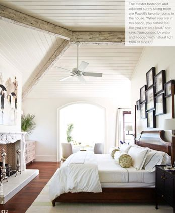 I love the white, the high ceiling, the exposed beams.