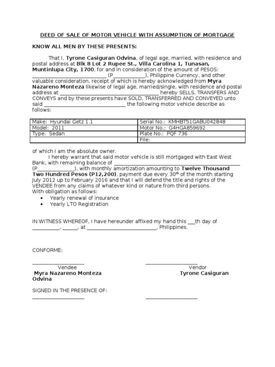 deed sale motor vehicle with assumption mortgage sample