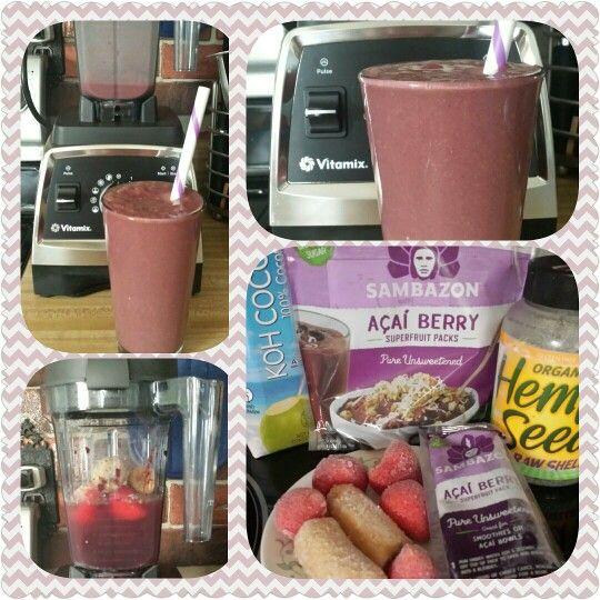 Strawberry Banana Acai Smoothie  1 1/4 cup coconut water  4-5 small frozen strawberries  2/3 frozen banana  1 Sambazon Acai Berry  pack 2 tsp hemp seeds  #Vitamix #vegan #healthy #plantbased #dairyfree #fruit #acai #sambazon #hempseeds #godairyfree #feedfeed #smoothie
