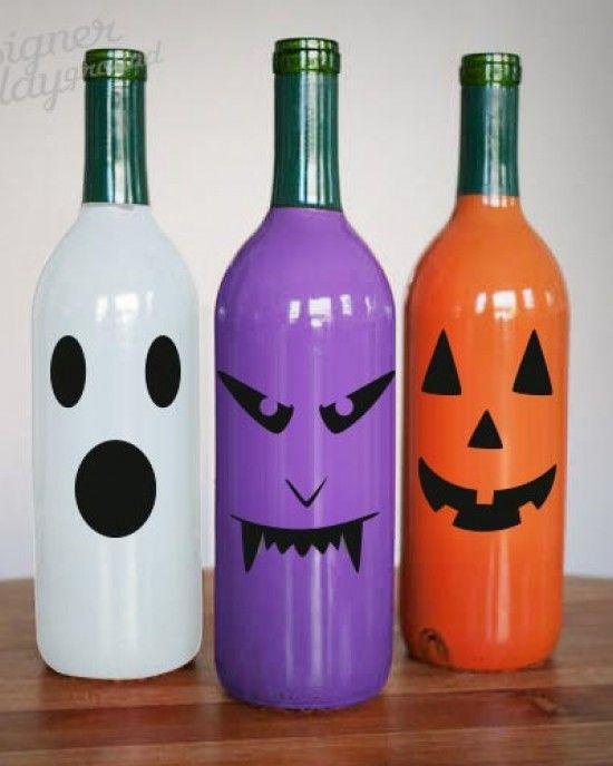 Eerie Faces Sticker For Halloween Decor Halloween Wine Bottle Crafts Halloween Wine Bottles Halloween Bottles