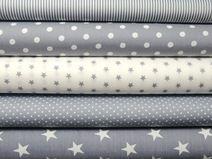 Stoffpaket grau-weiß, 5 x 0,5 m, Punkte, Sterne