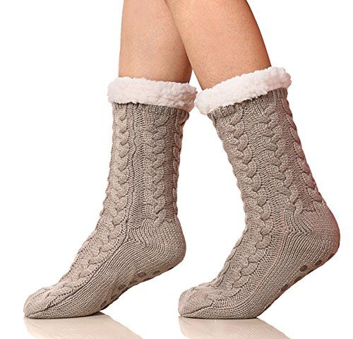 Chunky Knit Lounge Socks Fleece Lined Slipper Socks Anti Slip Grippers Gift Idea