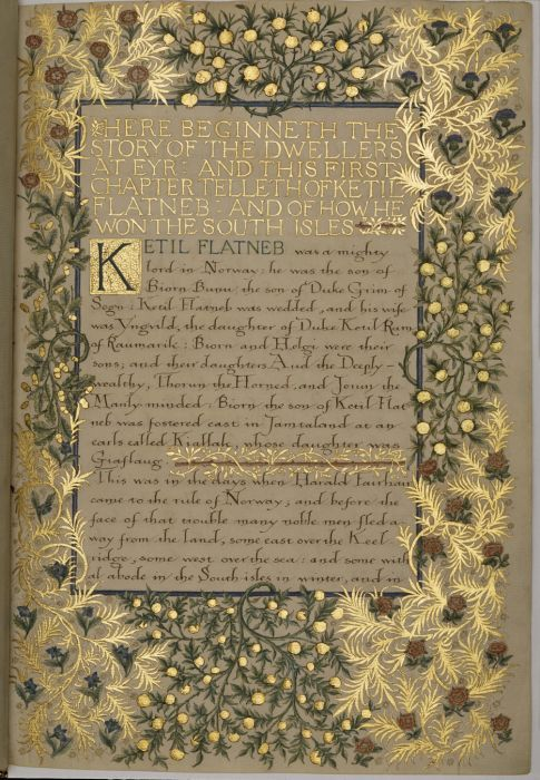 William Morris Illustrated Manuscript - The Story of the Dwellers at Eyr - Birmingham Museums & Art Gallery