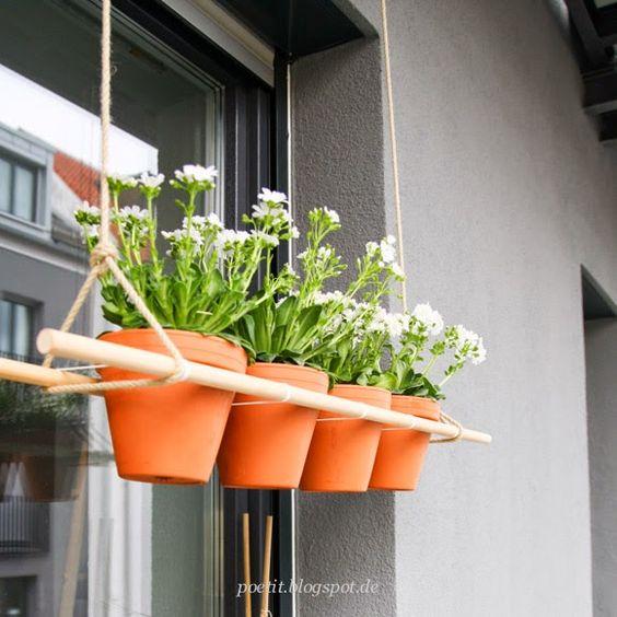h ngende pflanzen ein diy f r den balkon inspired by pinterest planters pinterest. Black Bedroom Furniture Sets. Home Design Ideas